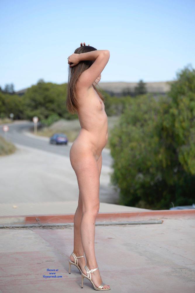 Pic #5 Just Me - Nude Girls, Brunette, Public Exhibitionist, Flashing, High Heels Amateurs, Outdoors, Public Place
