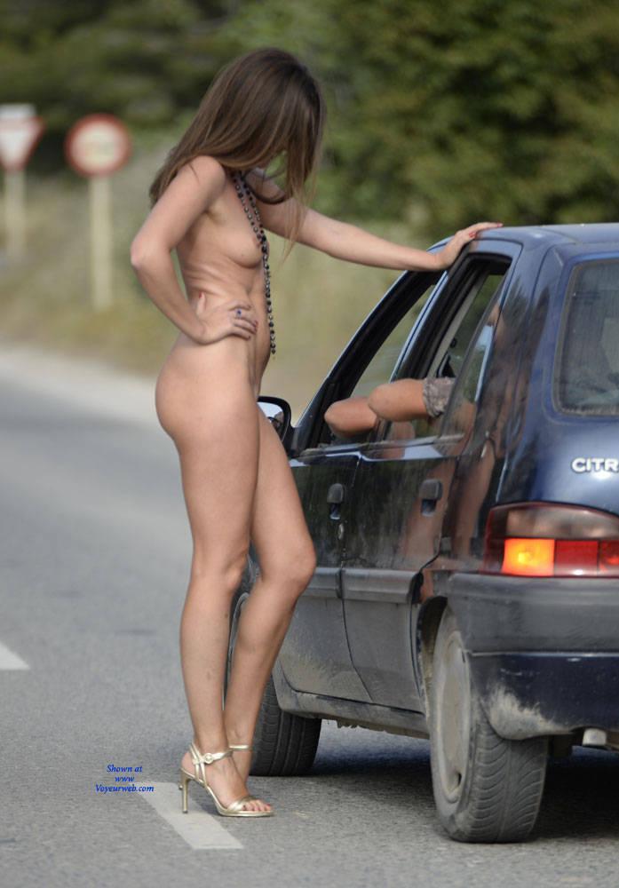 Pic #7 Just Me - Nude Girls, Brunette, Public Exhibitionist, Flashing, High Heels Amateurs, Outdoors, Public Place