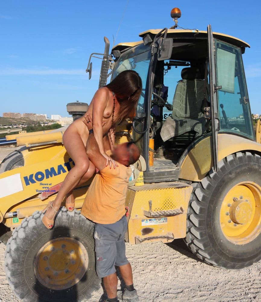 Pic #7 Excavator Helper - Nude Girls, Brunette, High Heels Amateurs, Outdoors, Firm Ass