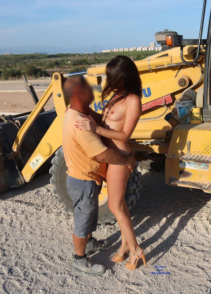 Pic #8 Excavator Helper - Nude Girls, Brunette, High Heels Amateurs, Outdoors, Firm Ass