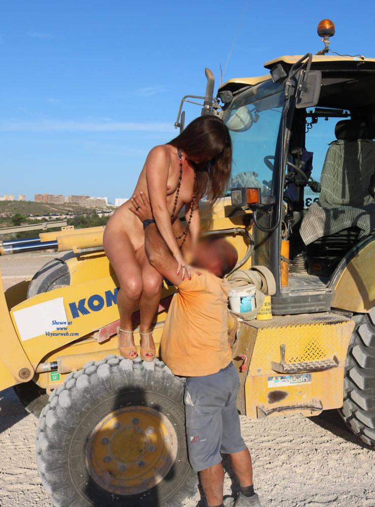 Pic #6 Excavator Helper - Nude Girls, Brunette, High Heels Amateurs, Outdoors, Firm Ass