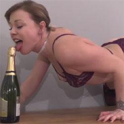 Champagne Slut! - Brunette, Lingerie, Amateur, Softcore