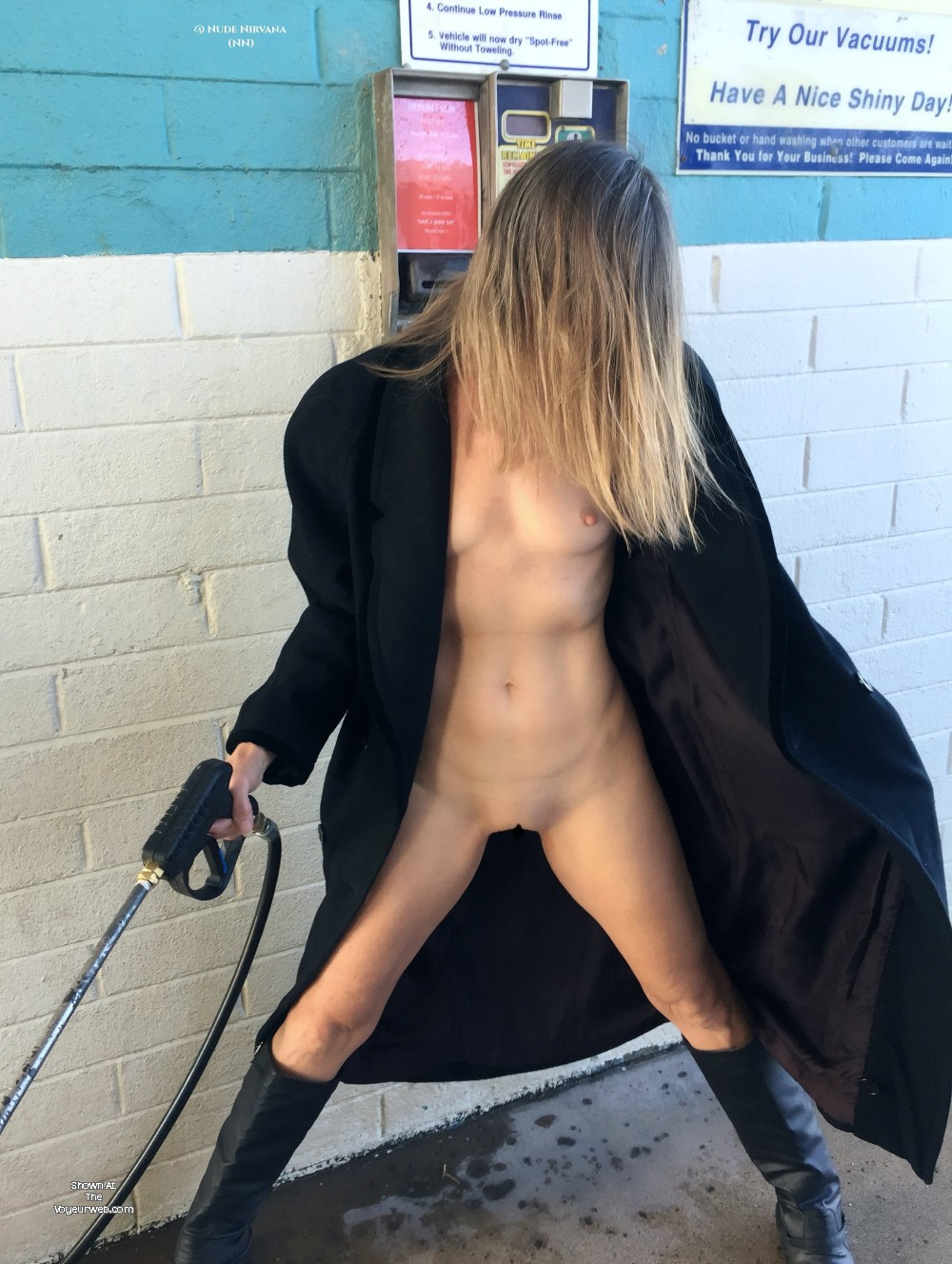 Pic #10 Nirvana Car Wash - Nude Wives, Blonde, Public Exhibitionist, Flashing, Outdoors, Public Place, Shaved, Amateur
