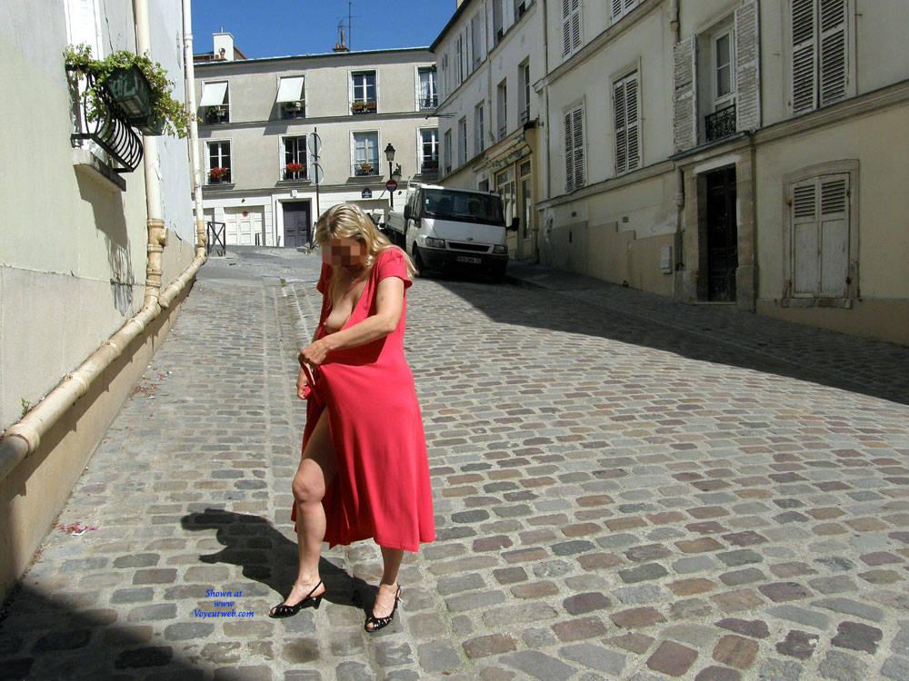 Pic #2 Rue du Chevalier de La Barre - Big Tits, Public Exhibitionist, Flashing, Outdoors, Public Place, Amateur