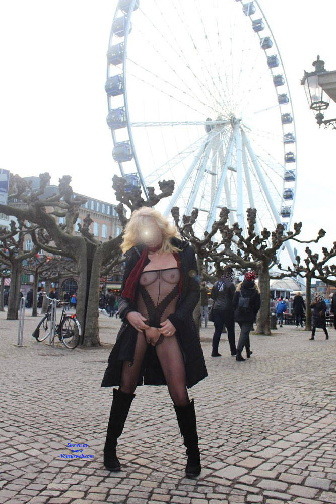 Pic #10 Duesseldorf 2018 Part 1 - Public Exhibitionist, Flashing, Lingerie, Outdoors, Public Place, See Through