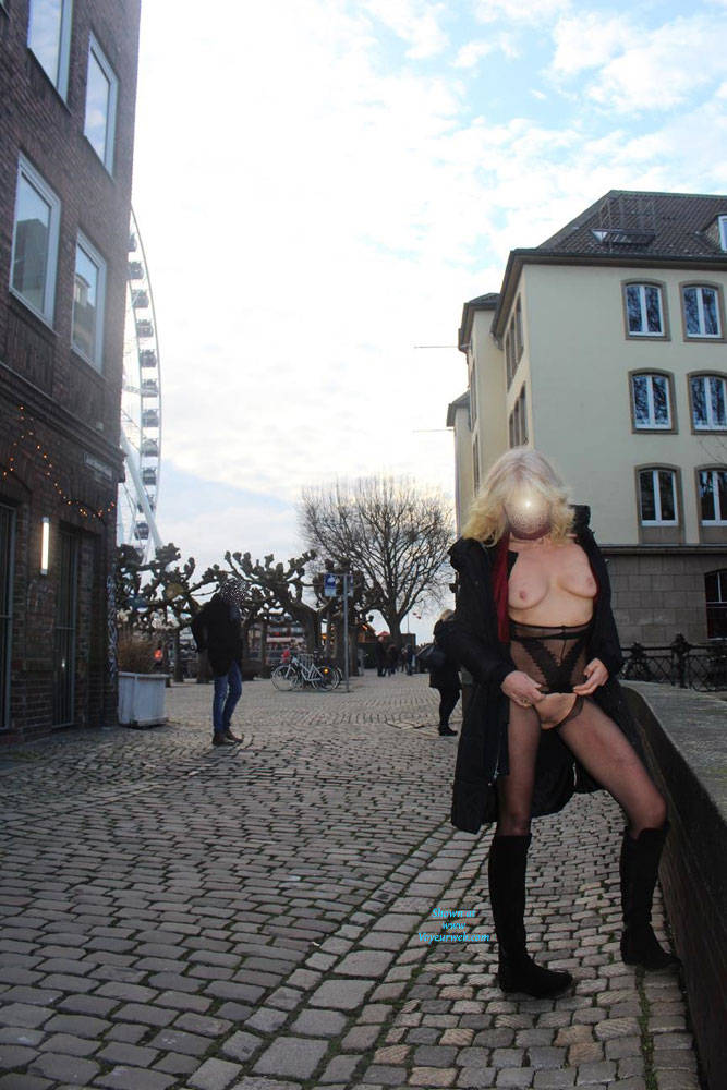 Pic #2 Duesseldorf 2018 Part 2 - Public Exhibitionist, Flashing, Lingerie, Outdoors, Public Place, See Through
