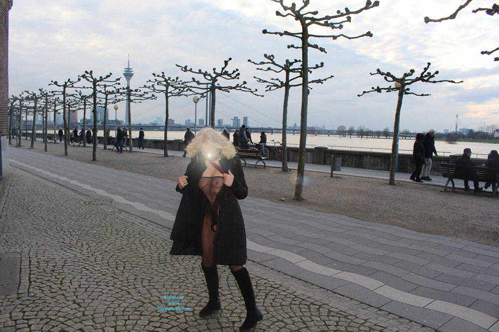 Pic #3 Duesseldorf 2018 Part 2 - Public Exhibitionist, Flashing, Lingerie, Outdoors, Public Place, See Through