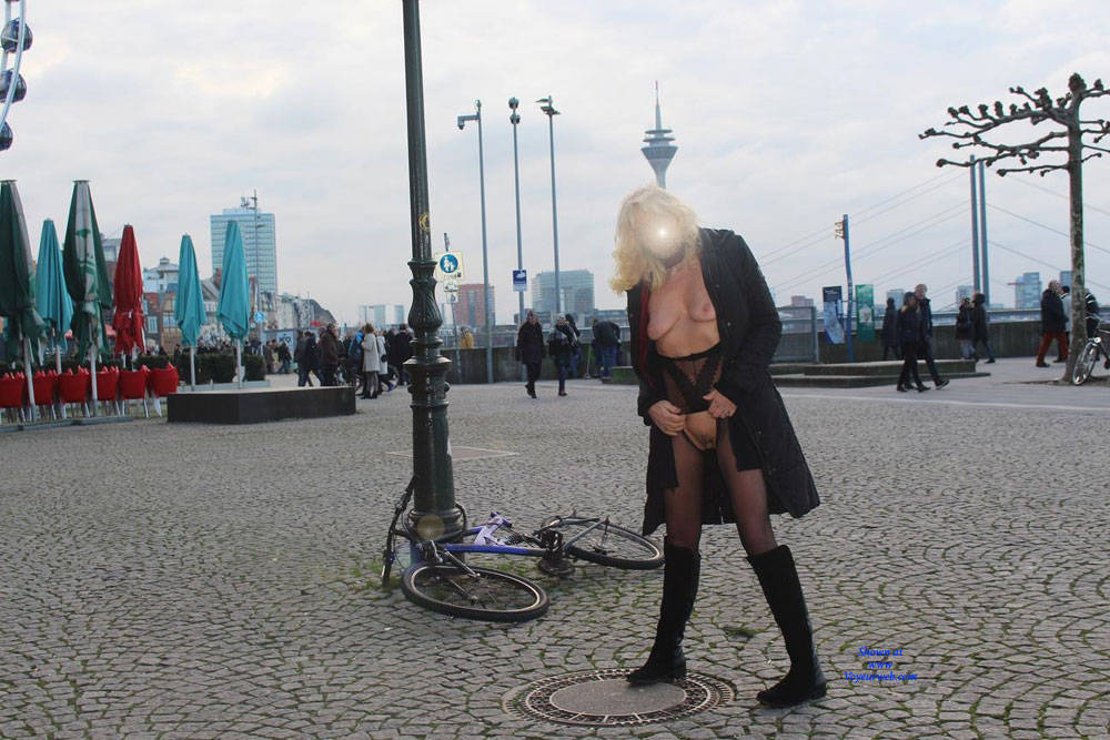 Pic #7 Duesseldorf 2018 Part 2 - Public Exhibitionist, Flashing, Lingerie, Outdoors, Public Place, See Through