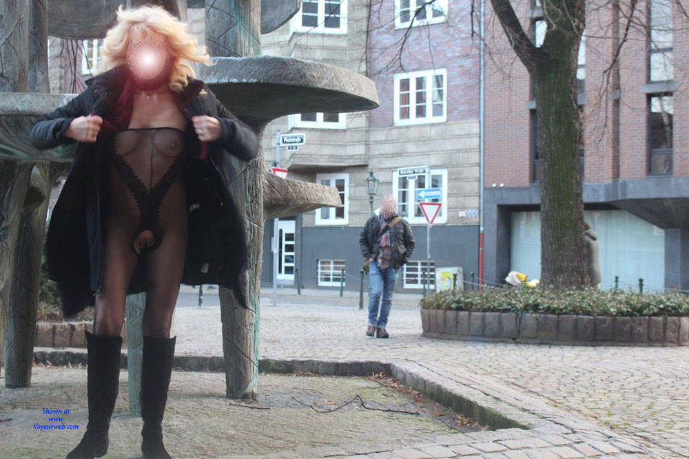 Pic #10 Duesseldorf 2018 Part 2 - Public Exhibitionist, Flashing, Lingerie, Outdoors, Public Place, See Through