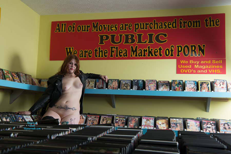 Pic #4 Adult Book Store Modeling - Public Exhibitionist, Public Place, Redhead, Amateur, Tattoos