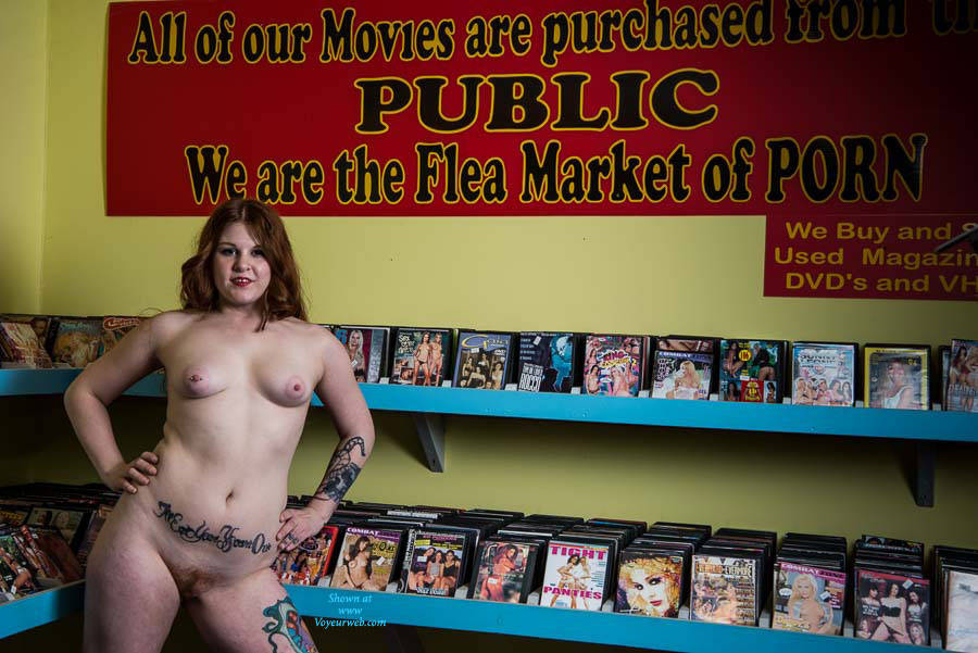 Pic #5 Adult Book Store Modeling - Public Exhibitionist, Public Place, Redhead, Amateur, Tattoos