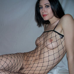 Raven Poses In Fishnet Bodysuit And Nude - Nude Girls, Brunette, Bush Or Hairy
