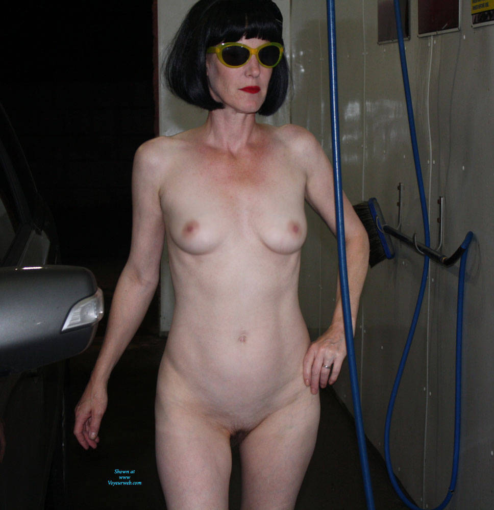 Pic #1 Patsy Goes To The Car Wash - Brunette, Public Exhibitionist, Outdoors, Public Place, Shaved, Amateur