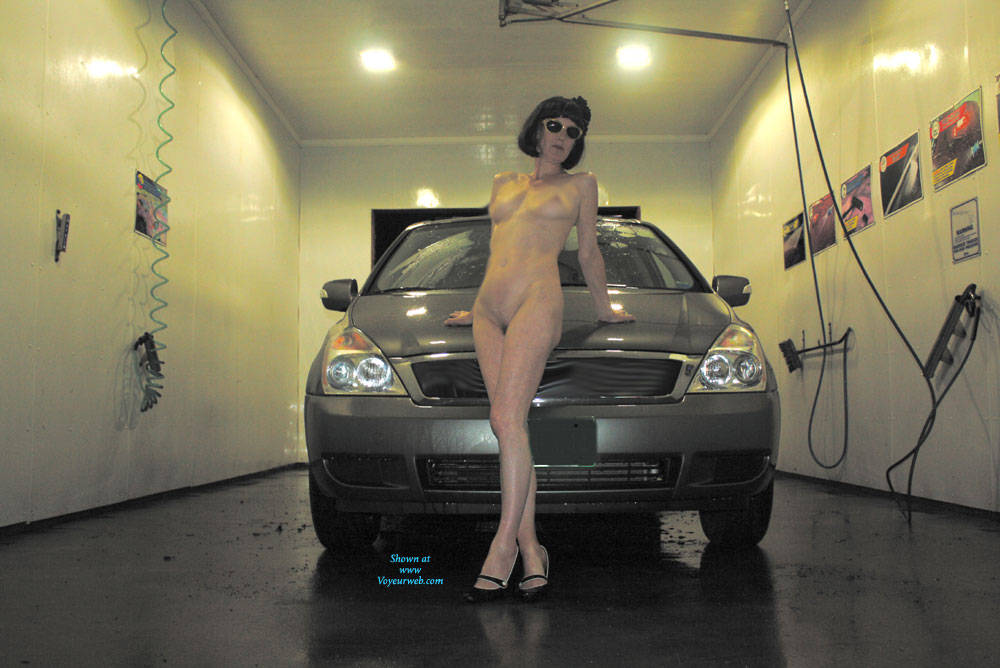Pic #10 Patsy Goes To The Car Wash - Brunette, Public Exhibitionist, Outdoors, Public Place, Shaved, Amateur