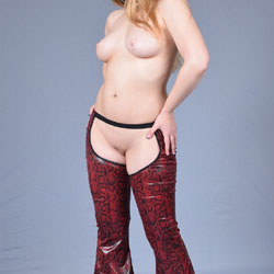 Red Snakeskin Chaps And Platform Heels - Big Tits, Shaved, Amateur, Wife/Wives