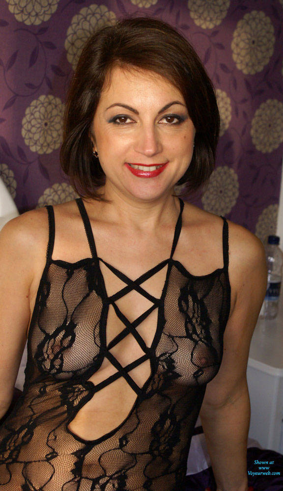 Pic #1 Anna (39) Body Stocking - Brunette, Lingerie, See Through, Amateur