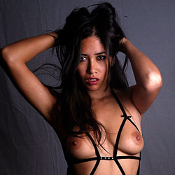 Leather O-rings - Brunette Hair, Naked Girl