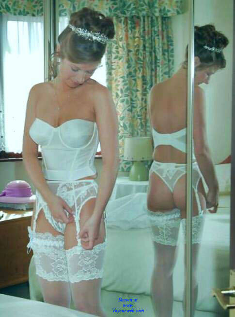 Pic #1 The Wife On Our Wedding Day - Wives In Lingerie, Brunette, Amateur, Stockings Pics
