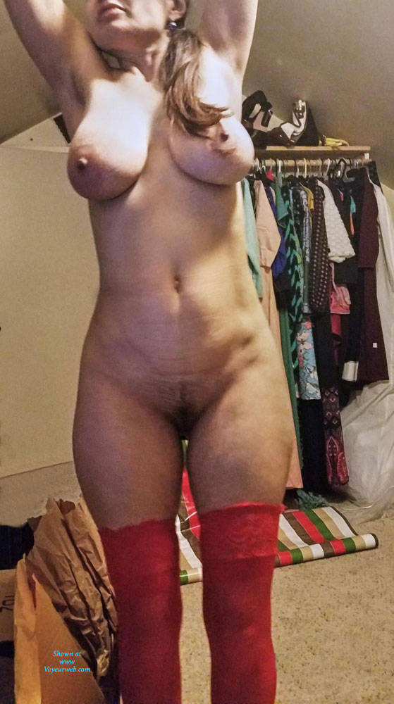 Pic #6 Red Stockings - Big Tits, Brunette, Lingerie, Amateur, Stockings Pics