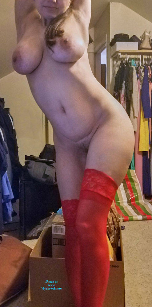 Pic #7 Red Stockings - Big Tits, Brunette, Lingerie, Amateur, Stockings Pics