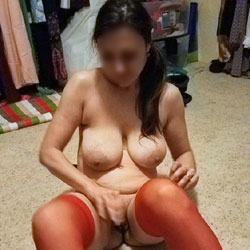 Red Stockings - Big Tits, Brunette, Lingerie, Amateur, Stockings Pics