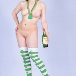 St. Patrick's Day Temptation - Huge Tits, Nipples, No Panties, Perfect Tits, Shaved Pussy, Showing Tits, Stockings, Hairless Pussy, Hot Girl, Naked Girl, Sexy Body, Sexy Boobs, Sexy Face, Sexy Figure, Sexy Girl, Sexy Legs , Stockings, Heels, Wine, Hairless Pussy, Legs