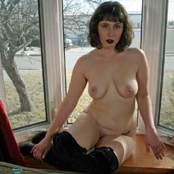 Posing In The Window - Nude Amateurs, Big Tits, Brunette, See Through, Body Piercings