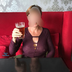Sheer In The Bar - Public Exhibitionist, Flashing, Public Place, See Through, Dressed, Amateur, Women In See Through Clothes