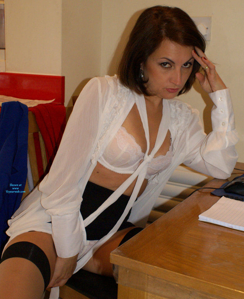 Secretary striptease nude