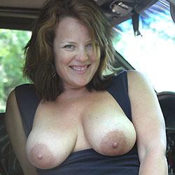 Passenger Door Playtime - Big Tits, Brunette, Outdoors, Bush Or Hairy, Amateur