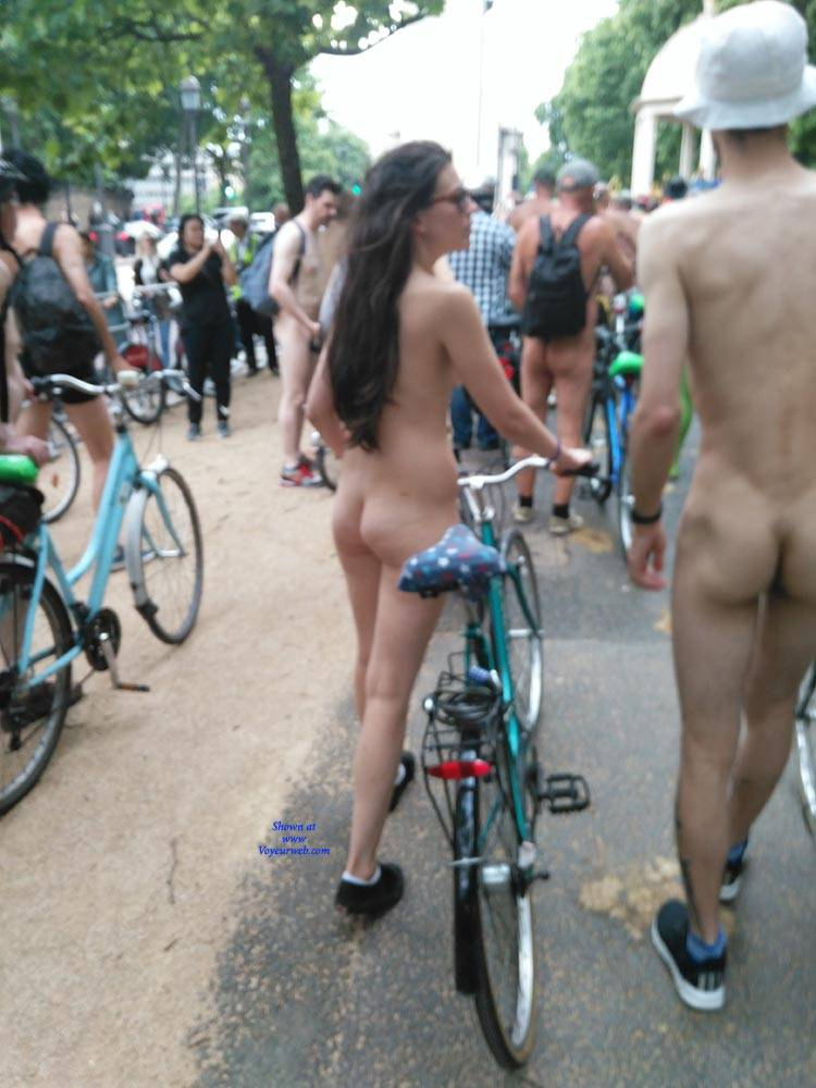 Pic #4 London Naked Bike Ride 2017 - Nude Girls, Brunette, Outdoors, Public Place