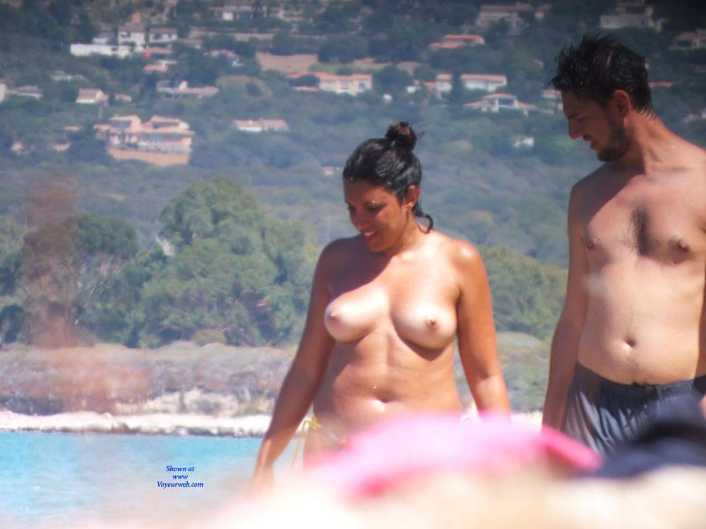 Pic #1 Topless - Topless Girls, Beach, Big Tits, Brunette, Outdoors, Beach Voyeur