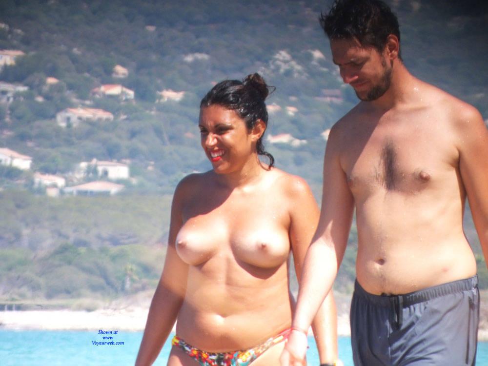 Pic #2 Topless - Topless Girls, Beach, Big Tits, Brunette, Outdoors, Beach Voyeur