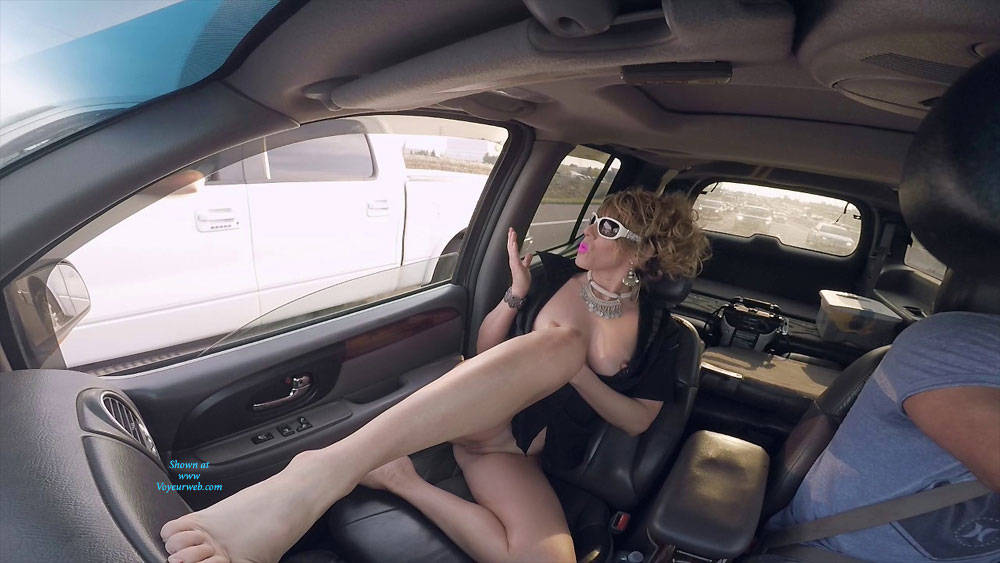 Pic #1 Flashing Is Fun On The Highway - Pantieless Wives, Public Exhibitionist, Flashing, Amateur