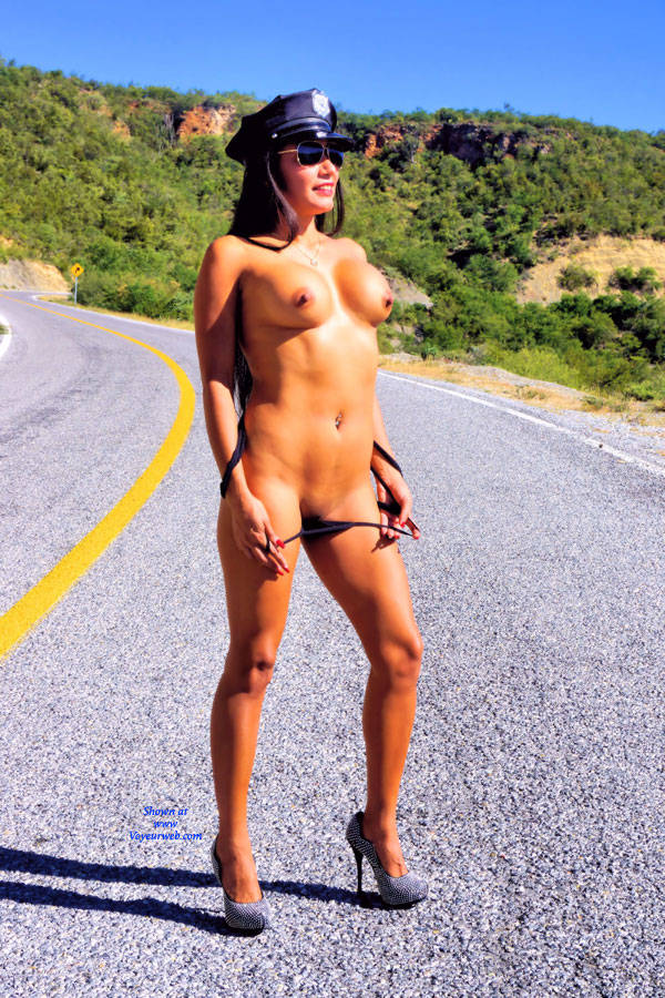 Pic #5 Police Check Point - Nude Girls, Big Tits, Brunette, Public Exhibitionist, High Heels Amateurs, Outdoors