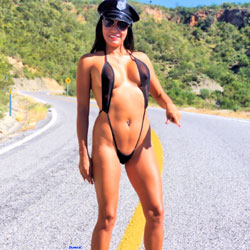 Police Check Point - Nude Girls, Big Tits, Brunette, Public Exhibitionist, High Heels Amateurs, Outdoors