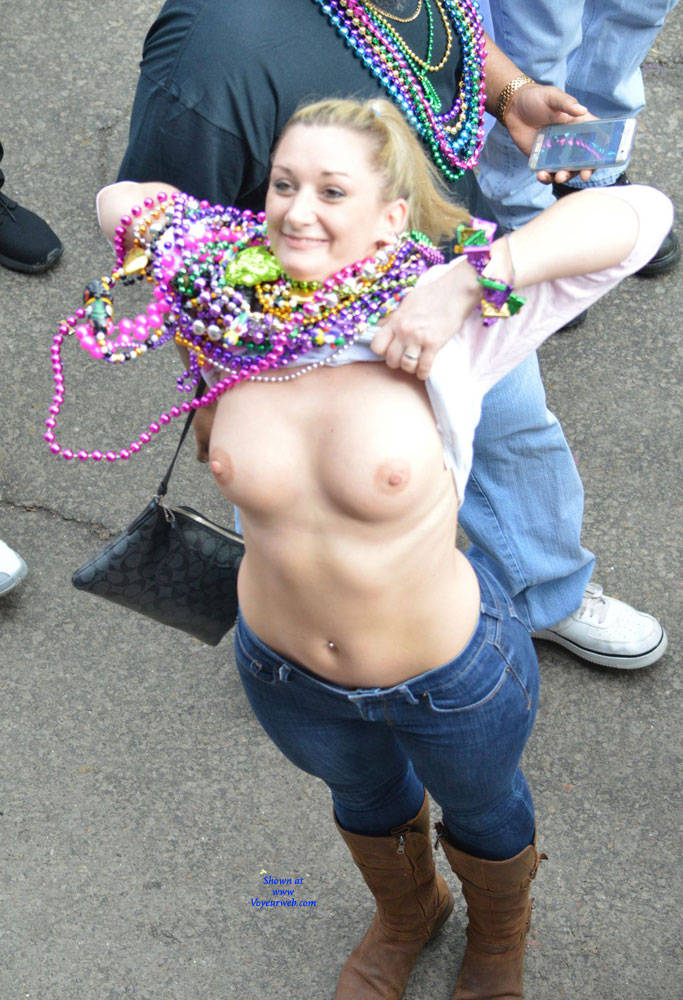 Pic #2 Mardi Gras - Big Tits, Public Exhibitionist, Flashing, Outdoors, Public Place