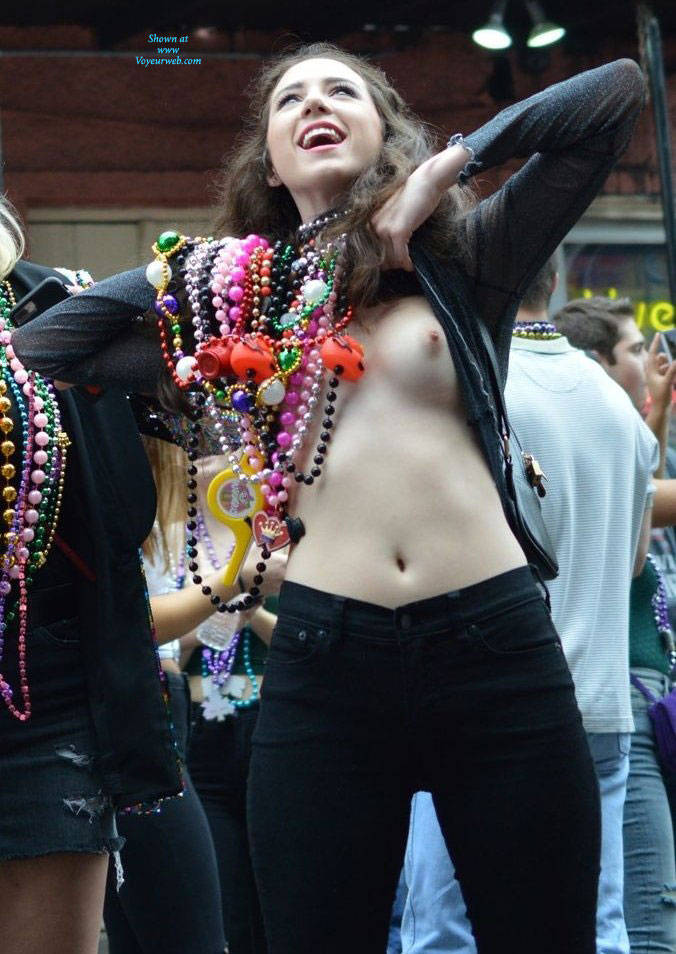 Pic #6 Mardi Gras - Big Tits, Public Exhibitionist, Flashing, Outdoors, Public Place