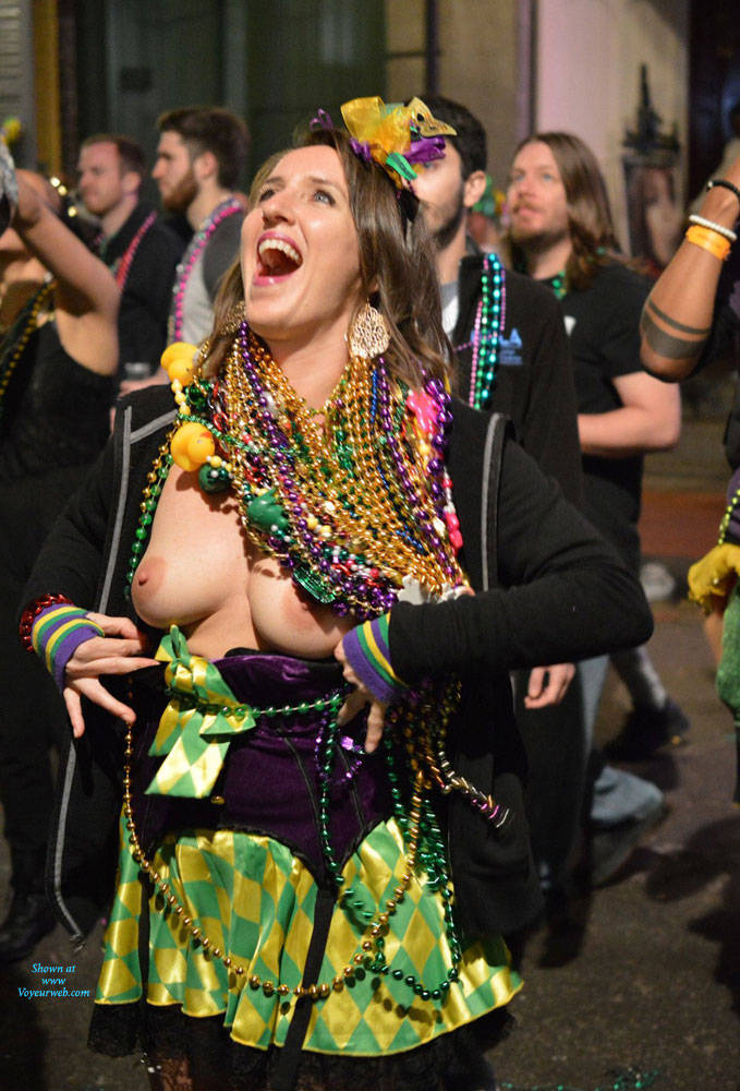 Pic #8 Mardi Gras - Big Tits, Public Exhibitionist, Flashing, Outdoors, Public Place