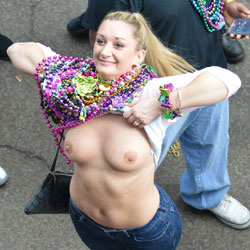 Mardi Gras - Big Tits, Public Exhibitionist, Flashing, Outdoors, Public Place
