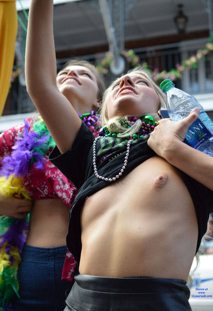 Pic #2 Mardi Gras 2 - Big Tits, Public Exhibitionist, Flashing, Outdoors, Public Place