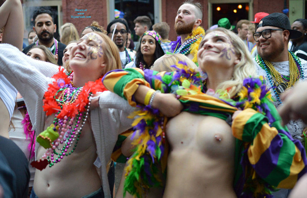 Pic #6 Mardi Gras 2 - Big Tits, Public Exhibitionist, Flashing, Outdoors, Public Place