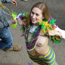Mardi Gras 2 - Big Tits, Public Exhibitionist, Flashing, Outdoors, Public Place