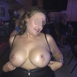 Very large tits of my wife - Exhibitionist wife