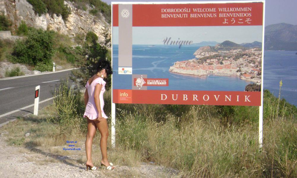 Pic #5 Public Flashing - Pantieless Girls, Brunette, Public Exhibitionist, Outdoors, Public Place, Amateur