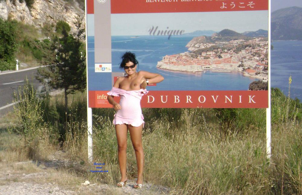 Pic #6 Public Flashing - Pantieless Girls, Brunette, Public Exhibitionist, Outdoors, Public Place, Amateur