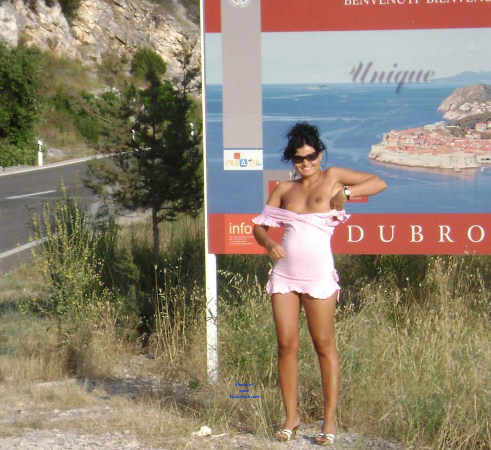 Pic #7 Public Flashing - Pantieless Girls, Brunette, Public Exhibitionist, Outdoors, Public Place, Amateur