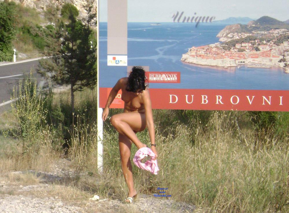 Pic #8 Public Flashing - Pantieless Girls, Brunette, Public Exhibitionist, Outdoors, Public Place, Amateur