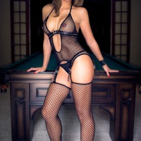 Chrissy in Her Black Fishnet - Brunette, Lingerie