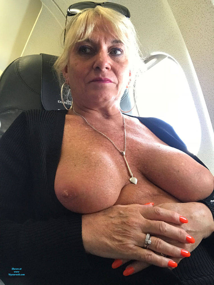 Pic #1 Flying High - Big Tits, Blonde, Public Exhibitionist, Flashing, Public Place, Amateur, Body Piercings